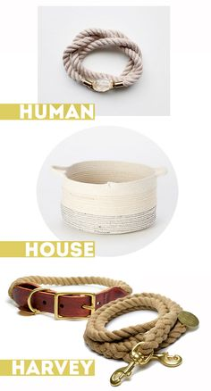 3 ways to use a rustic rope: as a belt (add a touch of elegance with a gem stone), accent basket, and dog leash. @designsponge.com