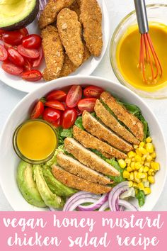 Vegan Honey Mustard Chicken Salad with plant-based tenders romaine lettuce tomatoes red onion corn and avocado topped with a creamy homemade dressing! Easy Vegan Dinner, Vegan Dinner Recipes, Vegan Dinners, Vegetarian Recipes, Healthy Recipes, Delicious Recipes, Honey Mustard Chicken, Egg Free Recipes, Homemade Dressing