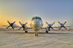 Lockheed P-3 Orion in Bahrain ... four-engine turboprop anti-submarine and maritime surveillance aircraft developed for the U.S. Navy!