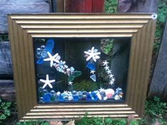 Beach Starfish, Shell and sea glass wall decor on vintage frame