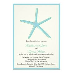 Starfish - Aquamarine Wedding invitations