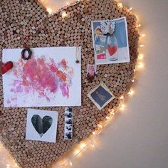 A DIY heart-shaped wine cork noticeboard with fairylights would be a lovely decoration for your children's bedrooms or family room/snug.