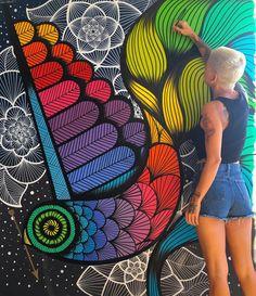 finishing this little big girl ~ acrylic on canvas ~ … – Graffiti World Graffiti Art, Murals Street Art, Posca Art, School Murals, Amazing Street Art, Wall Drawing, Mural Wall Art, Collaborative Art, Art Graphique