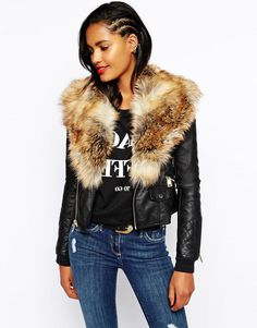 Plus Size Leather Coat With Fur Hood
