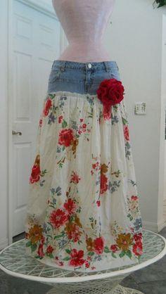 Recicla un short y conviertelo en una maxi falda - DIY