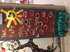 Eric Carle idea: I decorated my door after the book the grouchy ladybug by Eric Carle. I found a website online where a teacher talked about taking pictures of her students making grouchy faces. I thought it was a great idea. Each student made a ladybug and I took a picture of each of them making their own grouchy face. It turned out adorable!