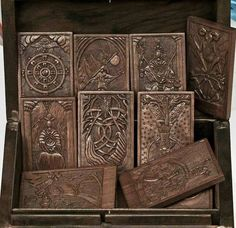 The Kashmir Tarot in Carved Wood by Nicolaas van. - The Kashmir Tarot in Carved Wood by Nicolaas van Beek. Pagan Altar, Wiccan, Magick, Witchcraft, Divination Cards, Tarot Cards, Divine Tarot, Oracle Reading, Ex Machina