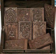 The Kashmir Tarot in Carved Wood by Nicolaas van Beek.
