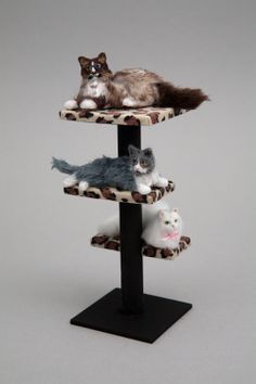 """Ragdoll, grey and white """"alley"""" cat and white Persian cat share a leopard print cat tree. 1:12 scale...adorable!"""