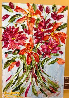Spring Bouquet - an impasto original by Barbara Scharpf of Creative Womanhood. #impasto #acrylic #spring #bouquet #flowers