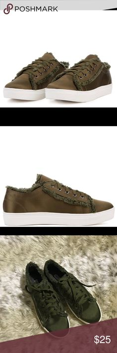 Women's silk tennis shoes size 8 Brand- Cape Robin  Brand new in box women's olive green fashion sneakers size 8-  Super cute with stars on the bottom of the shoes-  Beautiful black silk fabric with raw edges and trim-  Lace up closure-  Cushioned insole- Durable rubber midsole-  Price firm- Cape Robin Shoes Sneakers