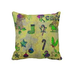 Green Patterned   Pillows for Christmas