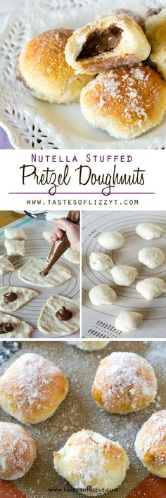 Nutella Stuffed Pretzel Doughnuts Recipe - Tastes of Lizzy T. A simple pretzel mix gets transformed into these baked Nutella Stuffed Pretzel Doughnuts. Soft, chewy pretzels with sugar-coating and a Nutella center. The ultimate in breakfast treats.