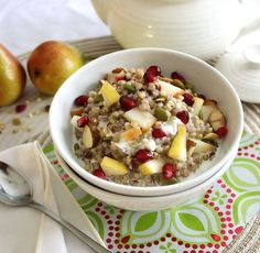 Gobble up this Warm Kasha {Buckwheat} Cereal with Pear, Pomegranate & Pepitas