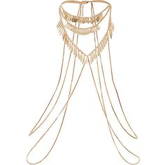 Gold tone shard detail body harness - body jewelry / harnesses - jewelry - women