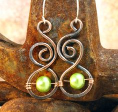 Copper Swirls and Pearls Earrings by pbenson4 on Etsy, $20.00