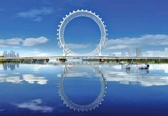 the 145 M structure stands proud on the bailang river bridge in the city of weifang, as the only spokeless ferris wheel ever to be build with a grid design.