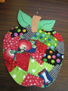 Fabric Scraps Apple (from Preschool Ideas For 2 Year Olds)