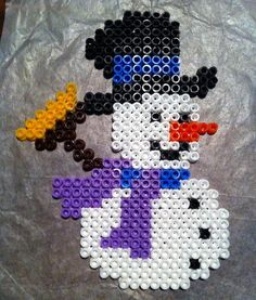 DIY Snowman - Creative Perler Beads Ideas, http://hative.com/creative-perler-beads-ideas/,