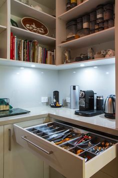 A stunning, mid-century inspired kitchen to suit the 1970s built home. www.thekitchendesigncentre.com.au @thekitchen_designcentre Cookbook Storage, Pantry Ideas, 1970s, Kitchen Design, Mid Century, Kitchen Appliances, Inspired, The Originals, Bathroom