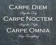 Carpe Diem, Carpe Noctem, Carpe Omnia. Seize the day, seize the night, seize everything because any one moment you let slip through your fingers is one you'll never get back!