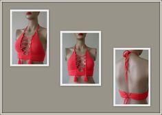 Ganchillo Bikini Top Bustier de Coral las mujeres traje de