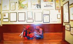 Deadpool and Spider-Man play patty-cake | Funny Pictures