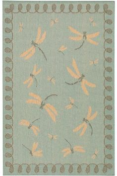 """Dragonfly Outdoor Area Rug, 3'3""""x4'11"""", AQUA by Home Decorators Collection. $46.00. Inspired by popular sisal floor coverings, the Dragonfly Rug features a charming pattern of dragonflies in flight against your choice of earth-tone colored background. This indoor /outdoor rug offers the look and texture of natural fibers with the added durability of all-weather materials. These element-defying flatweaves dry quickly and are perfect for your kitchen, deck, porch or p..."""