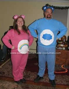 Homemade Care Bear Couple Costume: This Homemade Care Bear Couple Costume was my solution to the shapeless maternity costume options out there. I knew I wanted to do something comfortable