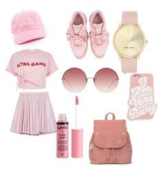 monochrome Of pink by nerdness14 on Polyvore featuring polyvore fashion style River Island 2NDDAY Puma TOMS Nine West Linda Farrow ban.do Charlotte Russe clothing