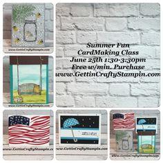 #CardMakingClass #SummerFun #RubberStamping #PaperCrafting #GettinCraftyStampin #StampinUp