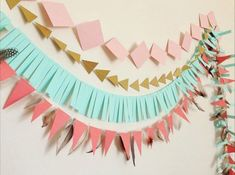 Blush Pink Gold Mint Coral Geometric Tribal by APopofConfettiCo First Birthday Parties, Girl Birthday, First Birthdays, Birthday Garland, Birthday Decorations, Pink Und Gold, Blush Pink, Pow Wow Party, Mint Coral
