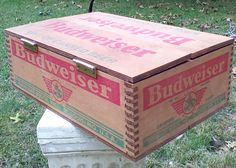RARE BUDWEISER KING OF CANNED BEER WOOD WOODEN CASE CRATE BOX ANHEUSER BUSCH