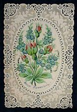 ANTIQUE FRENCH CARD c1880 EMBOSSED DOILY DOUCE SOUVENIR