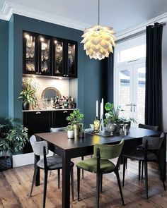 This is the dining room of Kristine @restoringlansdowne ...... This lady knows how to mix metals! She has used various metals alongside coloured glass to fabulous effect on her dining table and home bar...... If you want to see more of Kristines gorgeous home click HERE for her 'home tour'