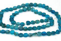 HALF STRAND OF UNUSUAL DARK BLUE / GREEN APATITE COIN BEADS, 5 MM | eBay
