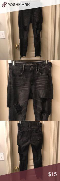 American Eagle Black Ripped Jeans American Eagle Black Ripped Jeans American Eagle Outfitters Pants Skinny