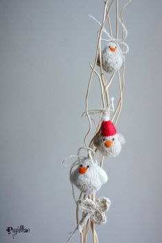 Little knitted birds Christmas tree decorations grey by Pupillae