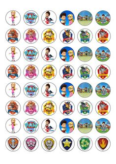 48 Fantastic Round Paw Patrol Edible Wafer Paper Cupcake Toppers
