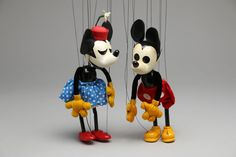 Pair (2) Vintage Bob Baker Marionettes, Disney 1930s Mickey & Minnie Mouse #57