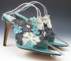 Miu Miu sz 40 Floral Overlay High Heels Womens Turquoise  / Black fits #distinctivedeals #floral #womens shoes