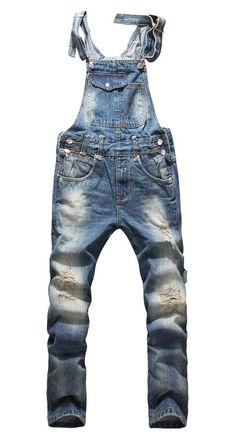 Front Pocket Design Relaxed Fashion Denim Overalls For Men Ripped Jeans Men, All Jeans, Jeans Fit, Denim Fashion, Look Fashion, Trendy Fashion, Fashion Trends, Fashion Men, Jean Destroy
