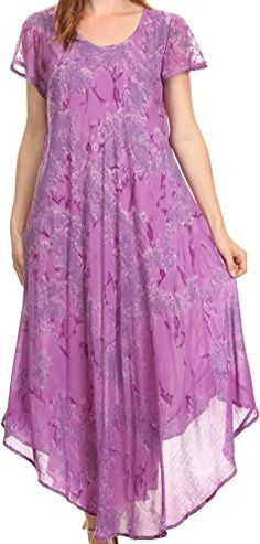 Sakkas 16800 - Sayli Long Tie Dye Cap Sleeve Embroidered Wide Neck Caftan Dress / Cover Up - Purple - OS Best Casual Dresses, Caftan Dress, Long Ties, Lace Design, Lounge Wear, Cap Sleeves, Beachwear, Tie Dye, Short Sleeve Dresses