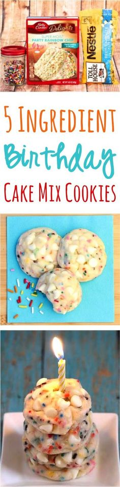 These Birthday Cake Mix Cookies taste are just 5 ingredients… Birthday Desserts! These Birthday Cake Mix Cookies taste are just 5 ingredients, and you're ready to party! Cake Mix Cookie Recipes, Cake Mix Cookies, Brownie Recipes, Cake Recipes, Dessert Recipes, Cake Mixes, Cupcakes, Birthday Desserts, Birthday Cookies