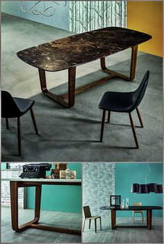 MEDLEY table with marble top and solid wood legs  Design Alessandro Busana Collection 2015 By Bonaldo www.bonaldo.it