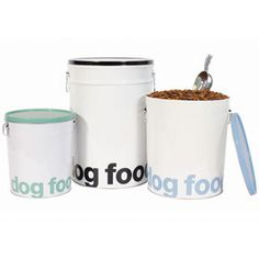 Harry Barker Helvetica Dog Food Storage Canisters are a decorative alternative to plastic storage bins. They are made from recycled steel with tight-fitting lids, convenient double handles and include an aluminum scoop. Food Canisters, Storage Canisters, Pet Food Storage, Food Storage Containers, Plastic Storage, Storage Bins, Food Dog, Dog Food Recipes, Dog Food Container