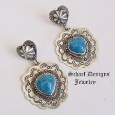 Schaef Designs denim lapis & stamped sterling silver earrings | turquoise Jewelry | New Mexico