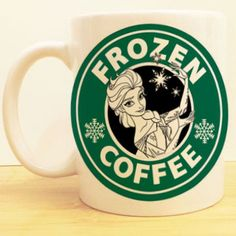 """Elsa's """"Frozen Coffee"""" Chilled by the Queen of Arendale herself! ★Ceramic Mug 11oz ★Dishwasher/microwave safe ★Doesn't scratch off ★Message me if you want any custom mugs! Contact us at shopwolffawn@g"""