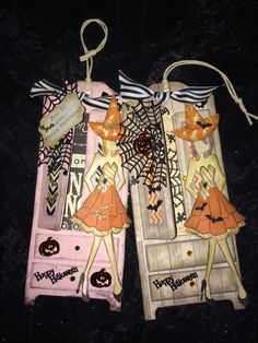 Halloween Cards for Granddaughters.Juli Nutting Armoire Tags and Prima Doll Stamp. Fall Paper Crafts, Halloween Paper Crafts, Scrapbook Paper Crafts, Halloween Cards, Scrapbook Cards, Prima Paper Dolls, Paper Doll Craft, Prima Doll Stamps, Doll Crafts