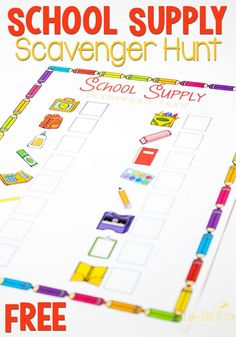 Taking your kids back to school shopping? Or even just trying to pack their new backpack? THis free back to school scavenger hunt is a fun way to keep them busy, so that you can focus on getting everything you need. Back To School Party, Make School, Back To School Shopping, New School Year, School Parties, First Day Of School, Middle School, Classroom Scavenger Hunt, School Scavenger Hunt